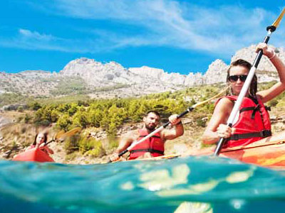 Blue lagoon sea kayaking in Croatia